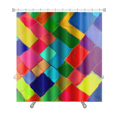 Bravo Abstract Painting Colorful Mozaic Geometric Premium Shower Curtain