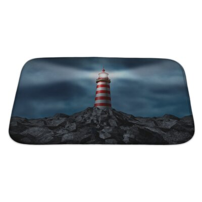 Marine Lighthouse Clearing the Path Bath Rug Size: Large