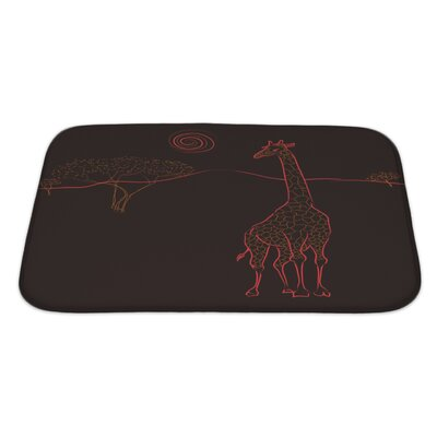 Animals Giraffe at the Savannah Abstract Shapes Image Bath Rug Size: Large
