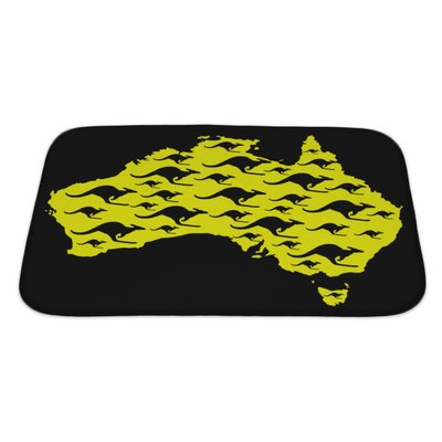 Animals Map of Australia with Kangaroo Shape Pattern Bath Rug Size: Large