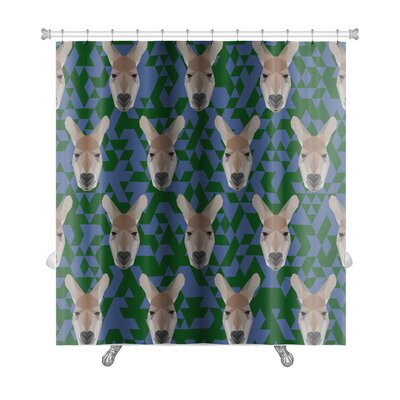 Animals Polygonal Kangaroo Premium Shower Curtain