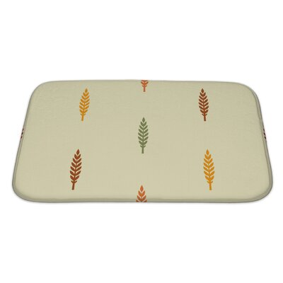 Leaves Various Silhouettes on Light Bath Rug Size: Large