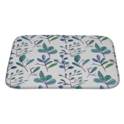 Primo Watercolor Leaf Pattern with Flowers Bath Rug Size: Large