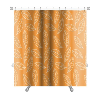 Slide Stylized Leaf Pattern Premium Shower Curtain
