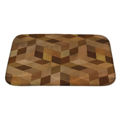 Delta Vintage Geometric Bath Rug Size: Large, Color: Sand/Brown