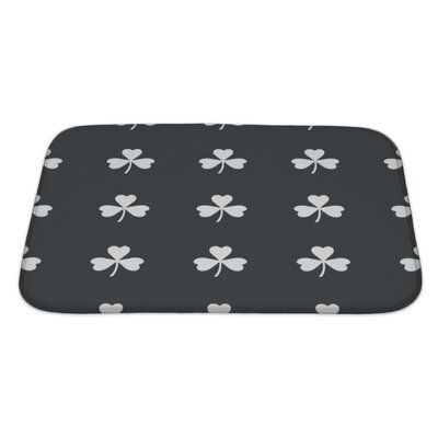 Slide Image of Clover Leaf Repeated on Black Bath Rug Size: Large