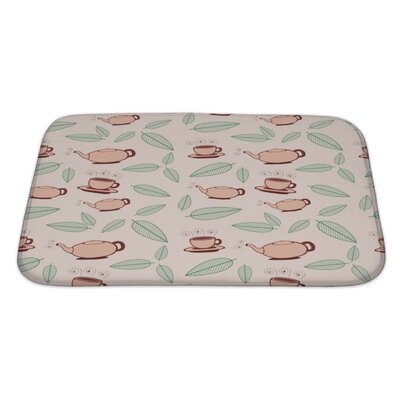 Beta Cartoon Tea and Leafs Pattern Bath Rug Size: Large