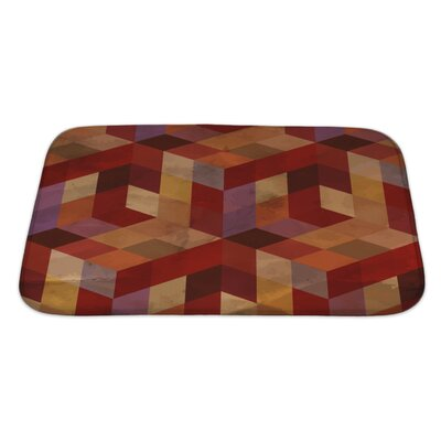 Delta Vintage Geometric Bath Rug Size: Large, Color: Burgundy/Red