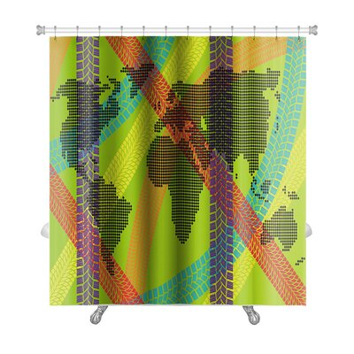 Earth Colorful Ecology Energy Tire Footprint World Map Concept Premium Shower Curtain