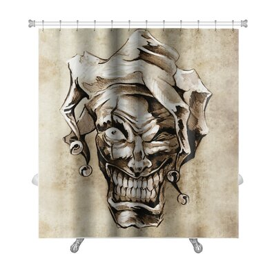 Danger Fantasy Clown Joker Sketch of Tattoo Over Dirty Premium Shower Curtain