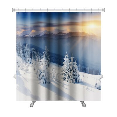 Landscapes Majestic Sunset in the Winter Mountains Landscape Dramatic Sky Premium Shower Curtain