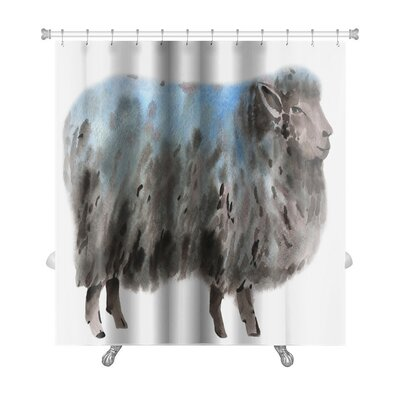 Animals Watercolor of a Sheep Premium Shower Curtain