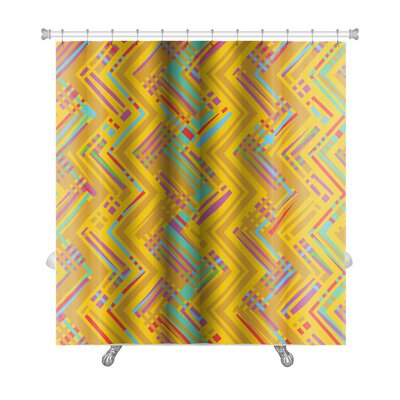 Beta Abstract Geometric Pattern of Vivid Colors Premium Shower Curtain