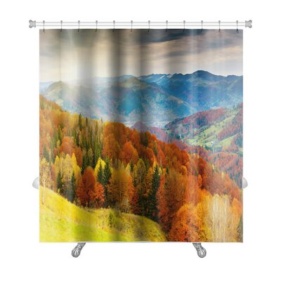 Landscapes the Mountain Autumn Landscape with Colorful Forest Premium Shower Curtain