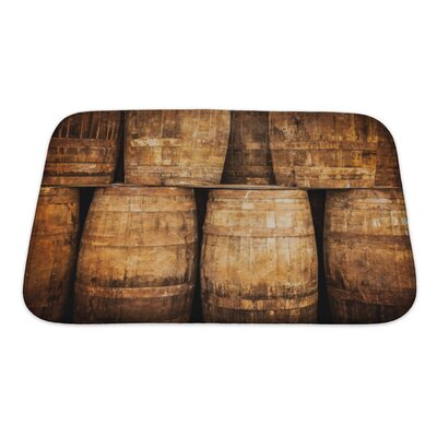 Vintage Stacked Whisky Barrels in Monochrome Vintage Style Bath Rug Size: Small