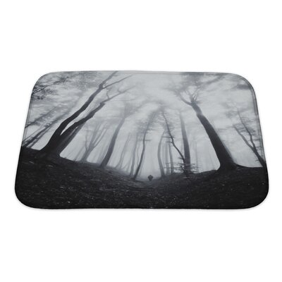 Nature Man Silhouette in Dark Spooky Misty Forest Bath Rug Size: Small
