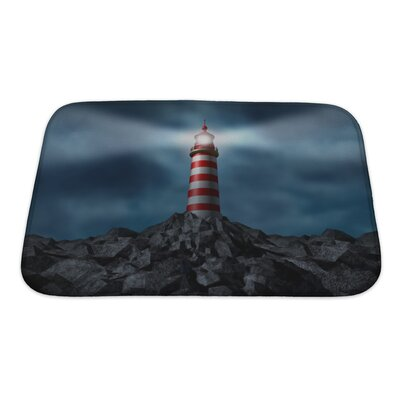 Marine Lighthouse Clearing the Path Bath Rug Size: Small