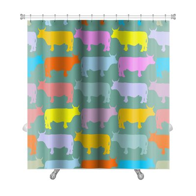 Animals Colored Cows Herd Pattern Ornament of Animals Premium Shower Curtain