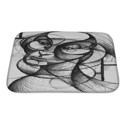 Art Hard Pen and Ink Portrait in Modern Style Bath Rug Size: Small