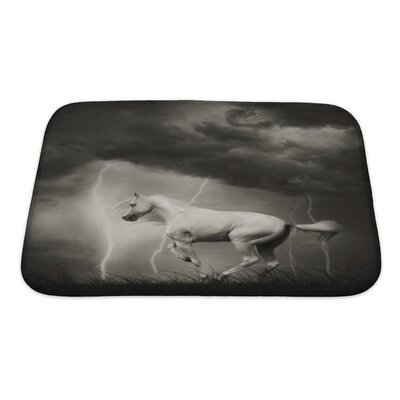 Animals White Horse Under Thunder Sky with Lightning Bath Rug Size: Small
