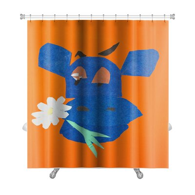 Animals Head of Happy Cow with Flower in Mouth Premium Shower Curtain