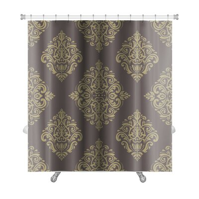 Primo Damask Fine Traditional Fine Ornament Oriental Elements Premium Shower Curtain