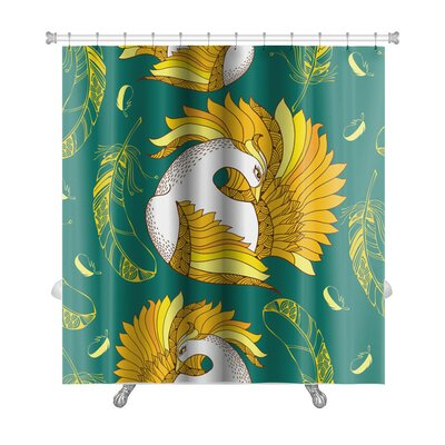 Birds with Mythological Firebird and Feathers Premium Shower Curtain