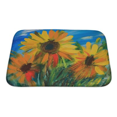 Flowers Sunflowers Drawn by Oil on Canvas Bath Rug Size: Small