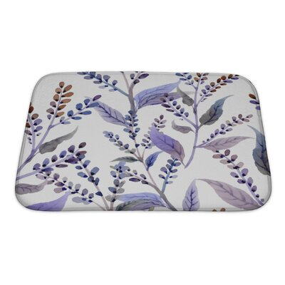 Delta Watercolor Pattern with Floral Elements Bath Rug Size: Small