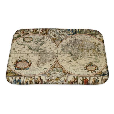 Earth Old Paper World Map Bath Rug Size: Small