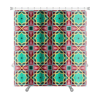 Charlie Oriental Traditional Ornament, East Pattern Geometric Premium Shower Curtain