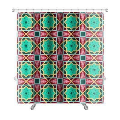 Charlie Oriental Traditional Ornament, East Pattern Geometric Premium Shower Curtain