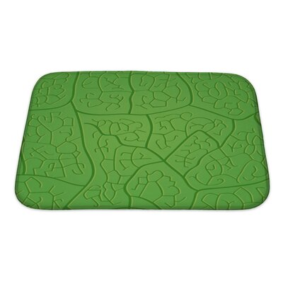 Leaves Macro Leaf Dark Veins Pattern Bath Rug Size: Small