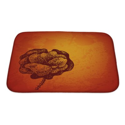 Gecko Artistic Card with Ink Style Poppy Flower Bath Rug Size: Small