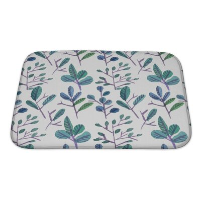 Primo Watercolor Leaf Pattern with Flowers Bath Rug Size: Small