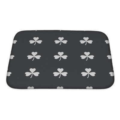 Slide Image of Clover Leaf Repeated on Black Bath Rug Size: Small