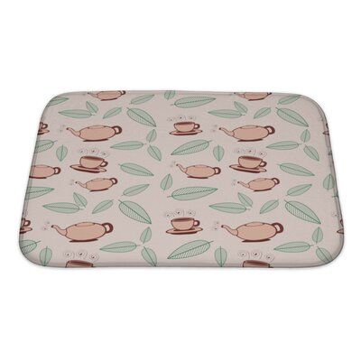 Beta Cartoon Tea and Leafs Pattern Bath Rug Size: Small