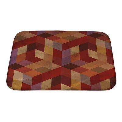 Delta Vintage Geometric Bath Rug Size: Small, Color: Burgundy/Red