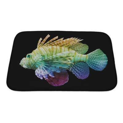 Fish Pterois Volitans, Lionfish, Unique Rainbow Bath Rug Size: Small