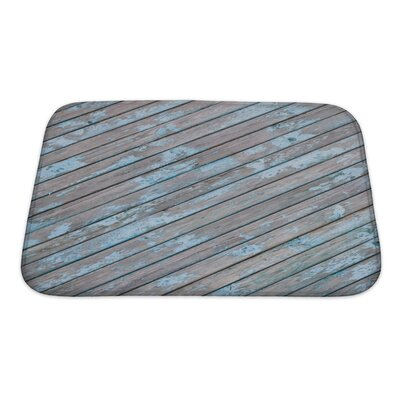 Wood Old Wooden Planks with Cracked Paint, Bath Rug Size: Small