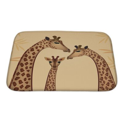 Animals Giraffes Family Bath Rug Size: Small
