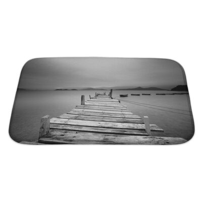 Wood Looking Over a Pier and Boats Bath Rug Size: Large