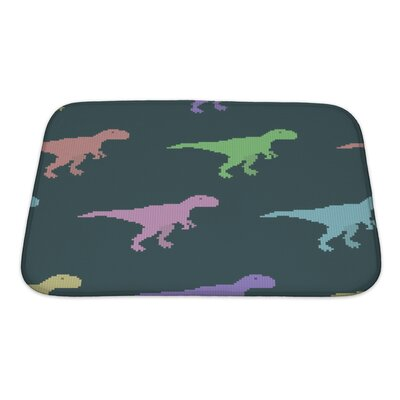 Dinosaurs Varicolored Pixel Dinosaurs Bath Rug Size: Small