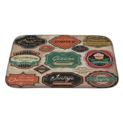 Vintage Collection of Vintage Retro Grunge Labels, Badges and Icons Bath Rug Size: Large