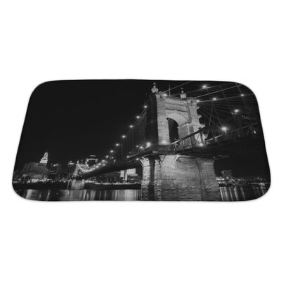 Skyline the Roebling Bridge Over the Ohio River at Cincinnati, Ohio Bath Rug Size: Large