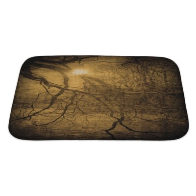 Wood Grunge Image of Dark Forest, Perfect Halloween Bath Rug Size: Large