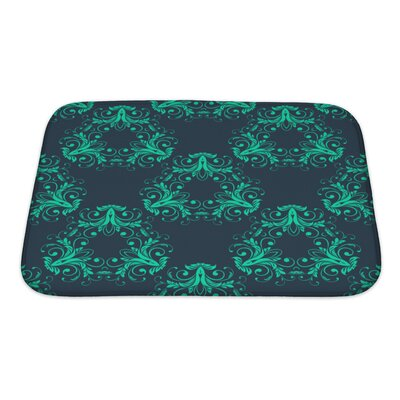 Simple Abstract Vintage Damask Pattern Bath Rug Size: Small