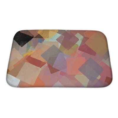 Art Beta Squares Abstract Brush Paint Impressionist Pattern Bath Rug Size: Small