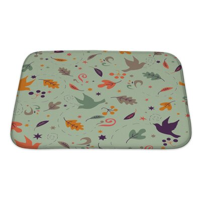Gamma Pattern with Autumn Leaves Bath Rug Size: Small