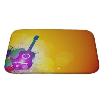 Instruments Music Notes with Guitar Player Bath Rug Size: Large